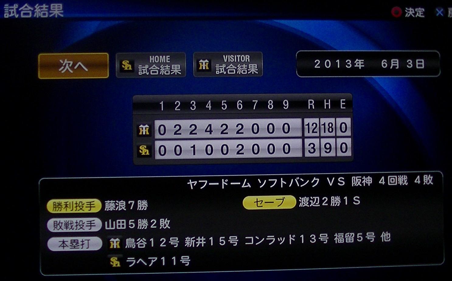 プロスピ2013対ソフトバンク4回戦(ビジター)H25.6.3分 019