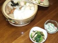 10/4 夕食 おでん、シメジと小松菜の煮びたし、キュウリとカニかまのサラダ