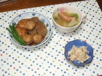 11/7 夕食 煮物、白菜とウィンナのスープ、ごぼうの白和え