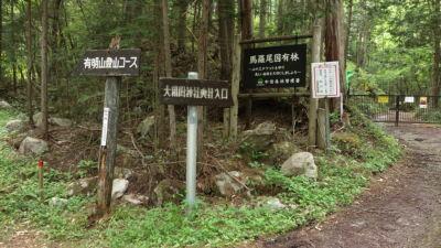 有明山登山道との分岐標識