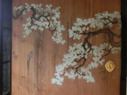杉戸絵・桜に滝