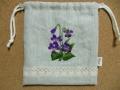 刺繍入巾着(紫の花)2