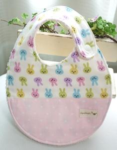 ポケット付きスタイ ウサギ‐ピンク系130923