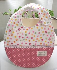 ポケット付きスタイ 花柄ピンク系130923