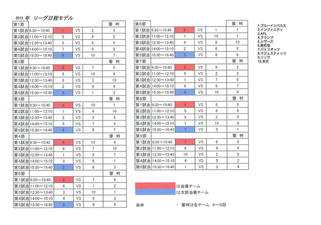 久留米リーグ日程表