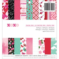 012789 [American Crafts] XOXO Paper Pad 6インチ 36枚 650円
