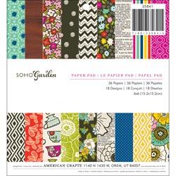 336727 [American Crafts] Soho Garden Paper Pad 6インチ 36枚 650円