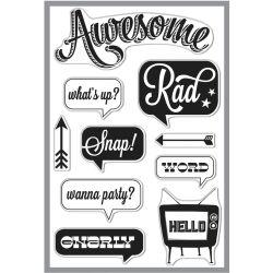 037176 [Hero Arts] Basic Grey Hipster クリアスタンプ (Awesome) 1600