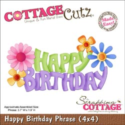 【1995円→1800円】CottageCutz Die 4x4 (Happy Birthday Phrase)
