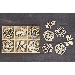 257905 [Prima] Laser Cut ウッドアイコン 36ピース (Flowers Leaves) 650
