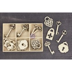 257913 [Prima] Laser Cut ウッドアイコン 36ピース (Keys Locks) 650