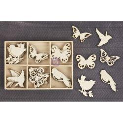 257916 [Prima] Laser Cut ウッドアイコン 36ピース (Birds Butterflies) 650