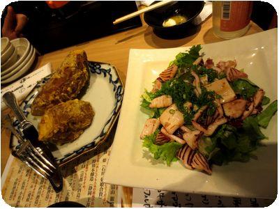 安納芋のフライドポテト・イカのガーリックソテー