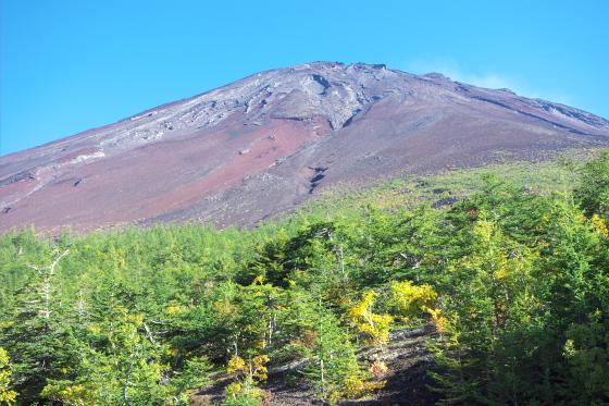 富士山五合目から山頂を望む