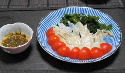 アワビの刺身(肝醤油)
