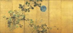 酒井抱一「月に秋草図屏風」