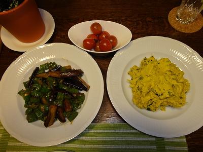 ししとうとピーマンの炒め物、ミニトマト、かぼちゃサラダ