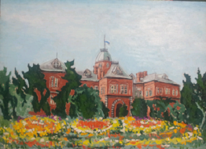 道庁と花のある風景