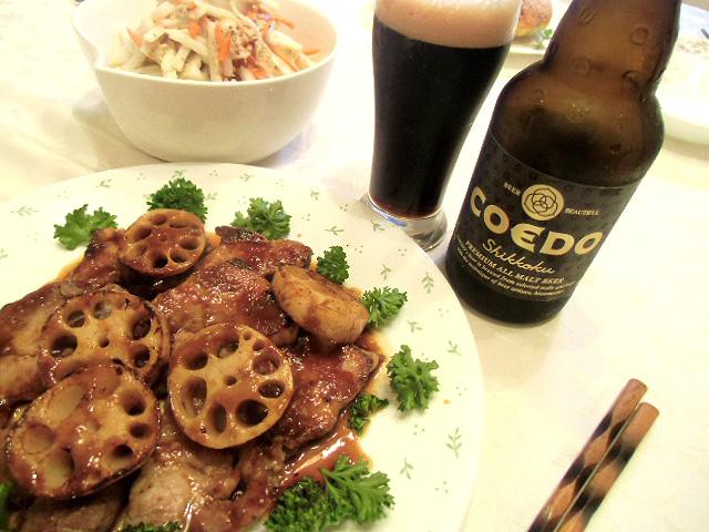 豚の麹焼きをコエドビール
