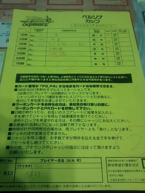 BCF京都 タイカプ スコアシート