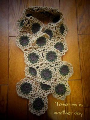 モチーフ編みのストール 途中