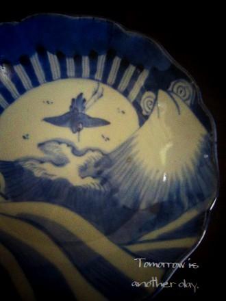 鶴・波・富士山 なます皿 アップ