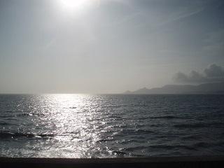 白く輝く名護湾