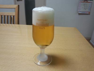 ビール2回目注ぎ終わり