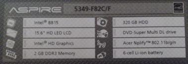 ACER ASPIRE 5349-F82C/F 仕様