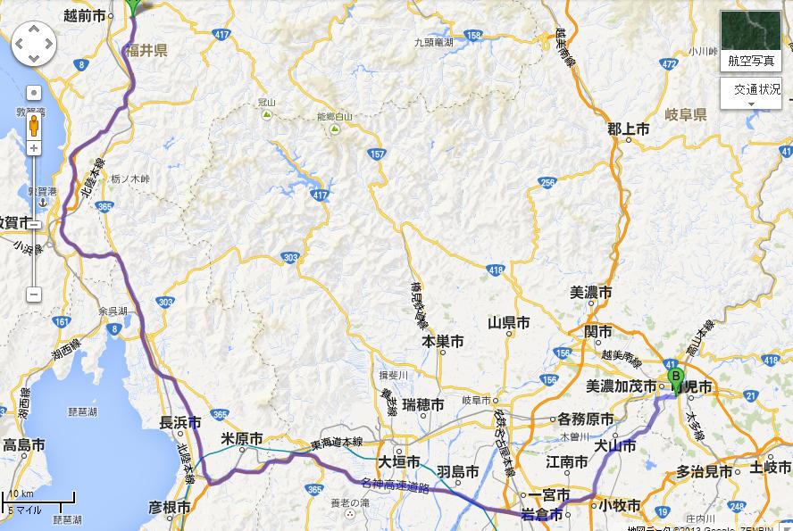 武生IC から 関辻屋支店 Google マップ