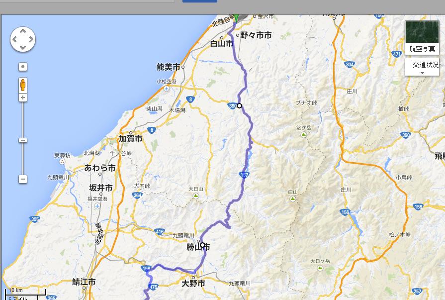 金沢まいもん寿司八日市店 から 指定の地点 Google マップ