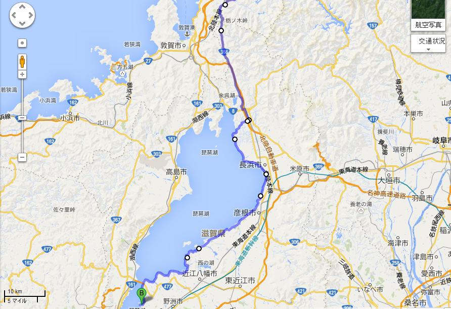 福井バイパス 国道8号線 から 道の駅草津 Google マップ