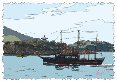 鞆の浦 弁天島と平成のいろは丸