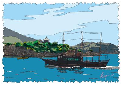 鞆の浦 弁天島と平成のいろは丸 ハイコントラスト