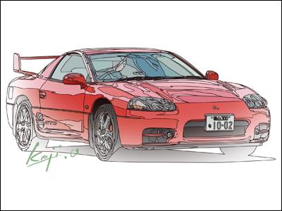 鈴木英人+水彩÷2の画風でMITSUBISHI GTO
