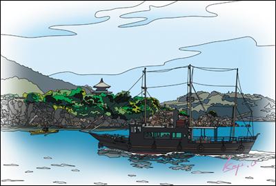 弁天島と平成のいろは丸のイラスト水彩画調