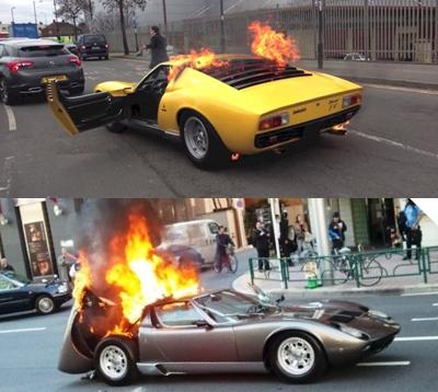 路上で炎上するランボルギーニ ミウラ
