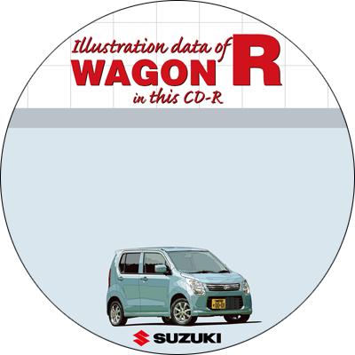 ワゴンRのイラストデータ用CD-R盤面デザイン