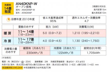 エアコンAN40KNP-W