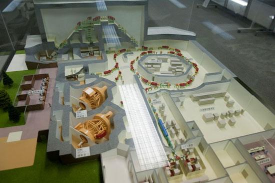 粒子線治療施設の全景模型