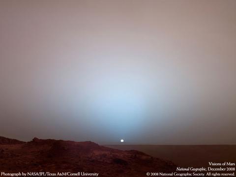火星の夕陽