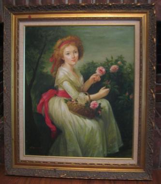 盧桄(ノウクァン、ノウクヮン)肉筆油絵「バラを摘む少女」(94×81.5cm)