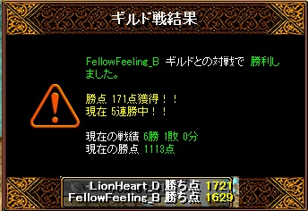 6月9日 ライオンGv VS FellowFeeling_B様
