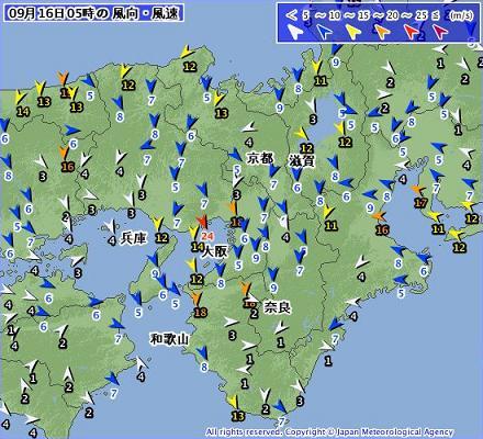 2013年9月16日 午前5時の近畿の風