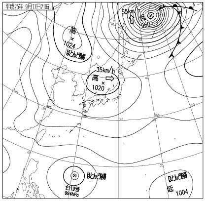 天気図 2013年9月17日21時