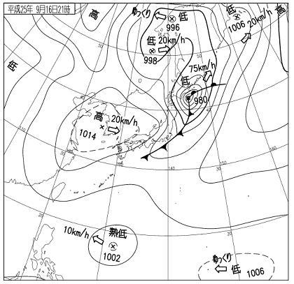 天気図 2013年9月16日21時