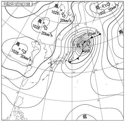 天気図 2013年10月16日15時