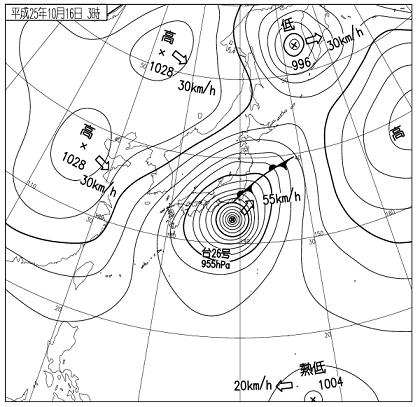 天気図 2013年10月16日03時