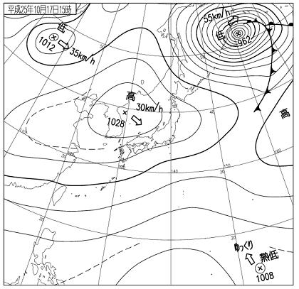 天気図 2013年10月17日15時
