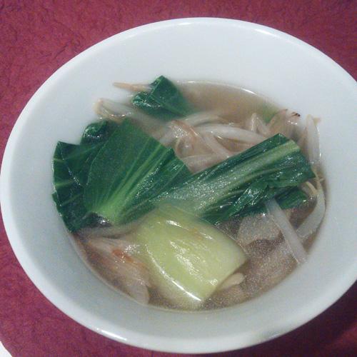20130926チンゲン菜ともやしの中華スープ